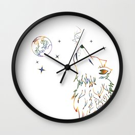 Wolf howling on moon sketch Wall Clock