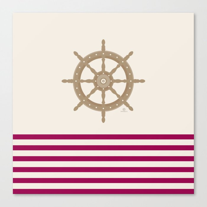 AFE Gold Nautical Helm Wheel Canvas Print