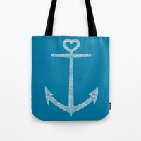 kpop Tote Bags featuring Love is the anchor by Picomodi