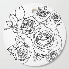 Feminine and Romantic Rose Pattern Line Work Illustration Cutting Board