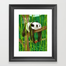 Panda Enjoys Coffee Framed Art Print