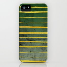 Gold Stripes on Green iPhone Case