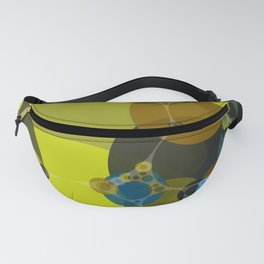 billie -vivid abstract design yellow blue brown chartreuse green Fanny Pack