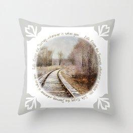 Snow on the Tracks Throw Pillow