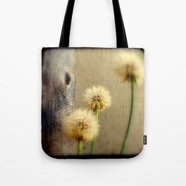 Tree Hugging Dandelions Tote Bag