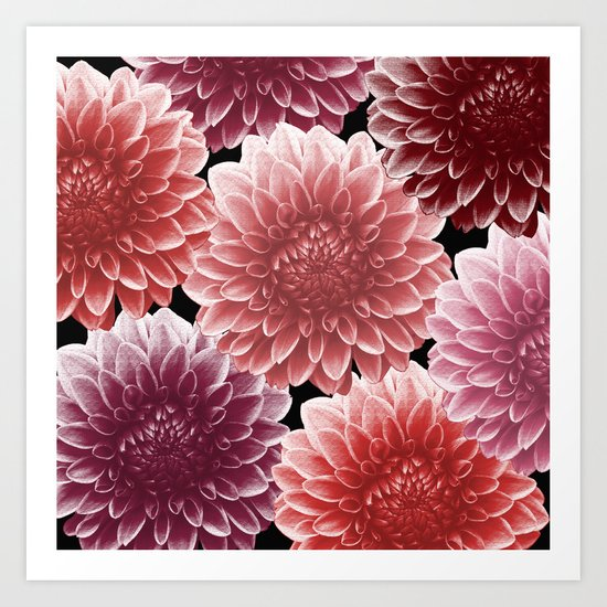 DAHLIAS (flowers abstract pattern) Art Print