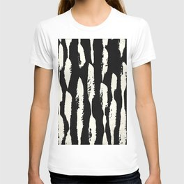 Abstract Stripes in Cream and Black T-shirt
