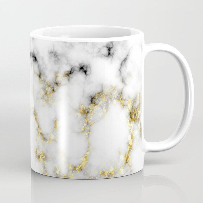 Black and white marble gold sparkle flakes Coffee Mug