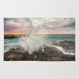 Crashing waves at sunset Rug