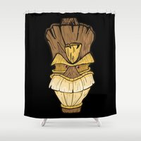 tiki Shower Curtains featuring Freaki Tiki by The Backwater Co
