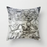 military Throw Pillows featuring Military by Amanda McCrory