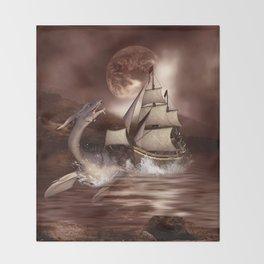 Awesome seadragon with ship Throw Blanket