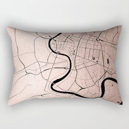 Bangkok Thailand Minimal Street Map - Rose Gold Pink and Black Rectangular Pillow