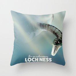 Loch Ness Scotland monster vintage travel poster Throw Pillow