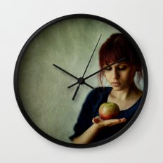 the girl with the apple Wall Clock