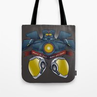pacific rim Tote Bags featuring Neural Handshake [Pacific Rim] by Ruwah