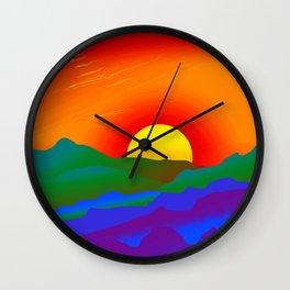 Gay Pride Rainbow Sunrise Landscape Design Wall Clock