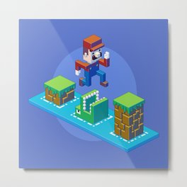 Isometric Mario pixel art Metal Print