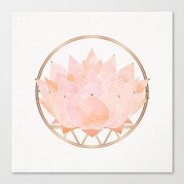 Blush Zen Lotus ~ Metallic Accents Canvas Print