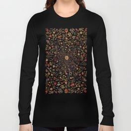 Medieval Flowers on Black Long Sleeve T-shirt