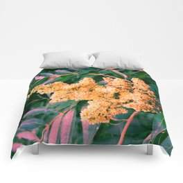 Green and Gold Sideways Sumac Comforters
