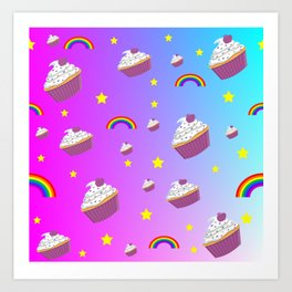 cupcakes and rainbows pattern Art Print