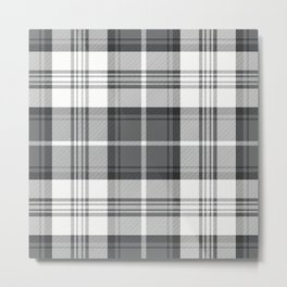 Black & White Tartan Metal Print