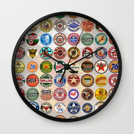 Gasoline Decals Wall Clock