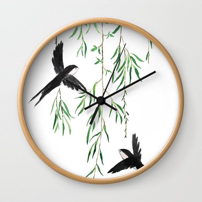 green willow leaf and swallow watercolor Wall Clock