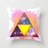 triforce Throw Pillows featuring Cosmic Triforce by Spooky Dooky