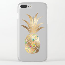 Faux Gold Pineapple Collage Clear iPhone Case