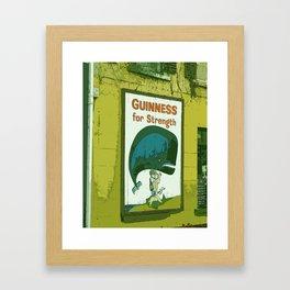 Guinness beer art print - 'Guinness for strength' vintage sign in green - vintage beer poster Framed Art Print