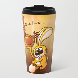 Easter Bunny Stealing an Egg from a Hen Travel Mug