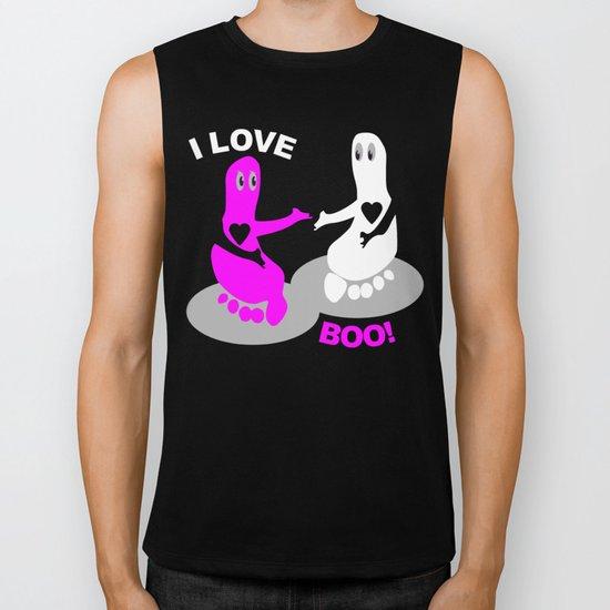 I love BOO Pink Footprint ghost Biker Tank