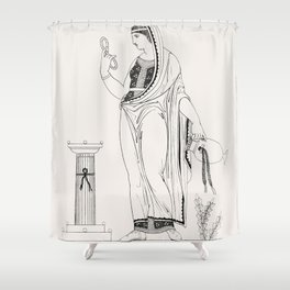 Grecian lady performing funeral rites from An  of the Egyptian Grecian and Roman costumes by Thomas Shower Curtain
