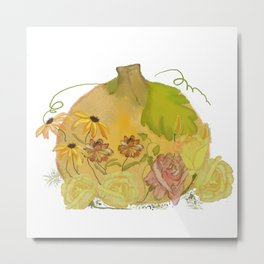 fall roses with pumpkin Metal Print