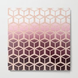 mauve ombre with rose gold cubes Metal Print