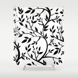Black Trees on White Shower Curtain