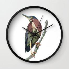 Green Heron Wall Clock
