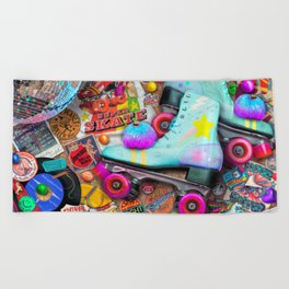 Super Retro Roller Skate Night Beach Towel