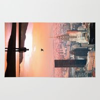 cityscape Area & Throw Rugs featuring Cityscape by Enkel Dika
