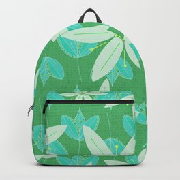 Green Flowers and Leaves Doodle Illustrated Pattern Backpack