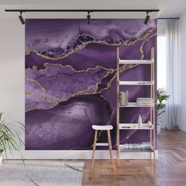 Glamour Purple Bohemian Watercolor Marble With Glitter Veins Wall Mural