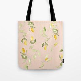 Watercolor Kumquat Peach Background Tote Bag