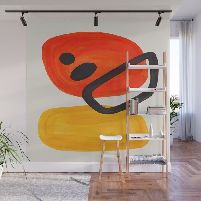 Colorful Mid Century Modern Abstract Fun Shapes Patterns Space Age Orange Yellow Orbit Bubbles Wall Mural