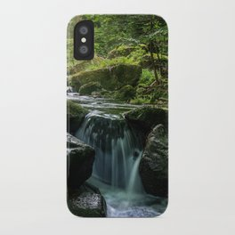 Flowing Creek, Green Mossy Rocks, Forest Nature Photography iPhone Case