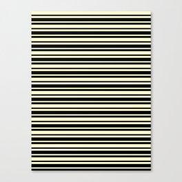 Cream Yellow and Black Horizontal Var Size Stripes Canvas Print