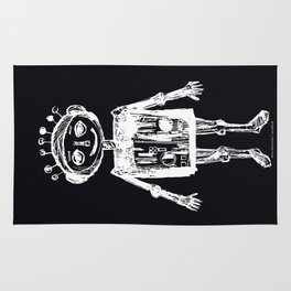 Little robot black-white illustration Rug
