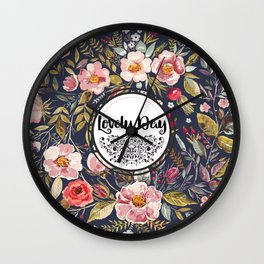 Pretty Floral Pattern with Lovely Day Typography Wall Clock