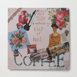 Collage happiness Coffee quote motivation shabby chic by Ksavera Metal Print